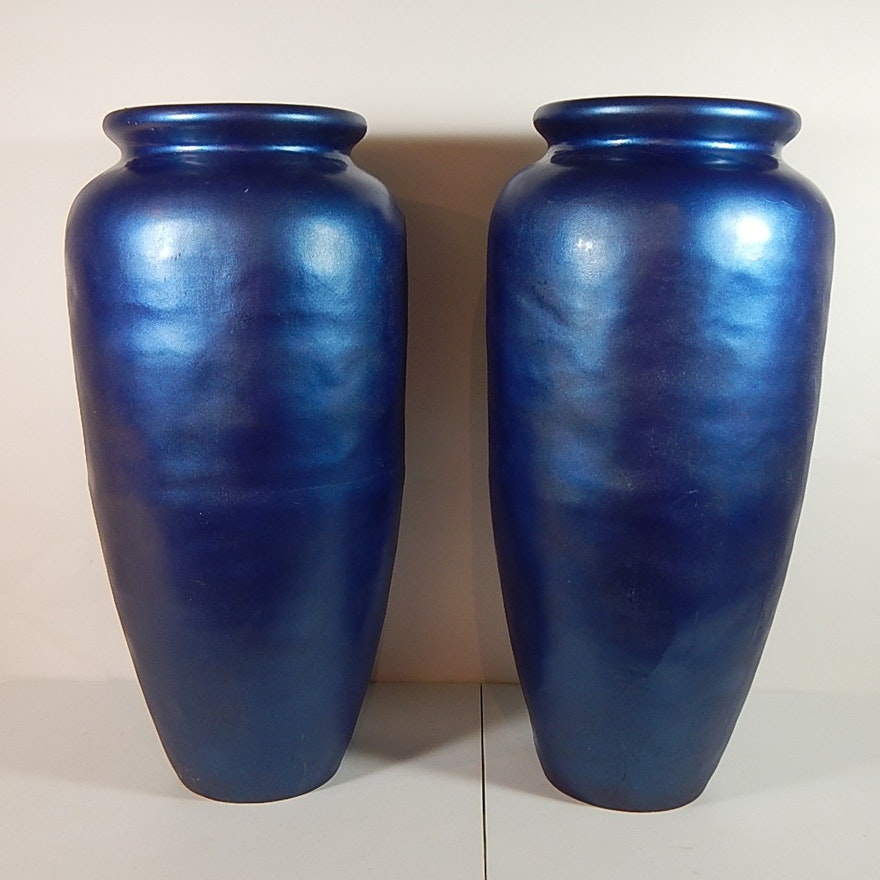 Two Large Metallic Blue Fiberglass Decorative Floor Vases Ebth