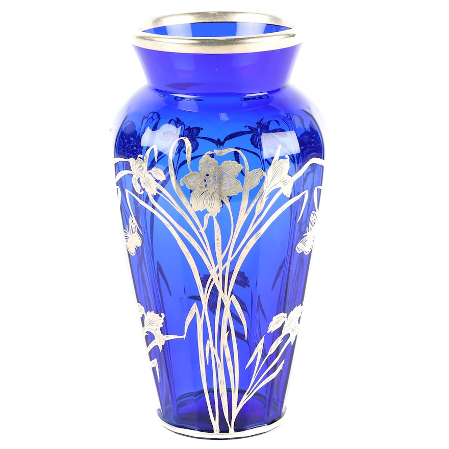 Art Nouveau Style Vase With Sterling Silver Overlay Ebth