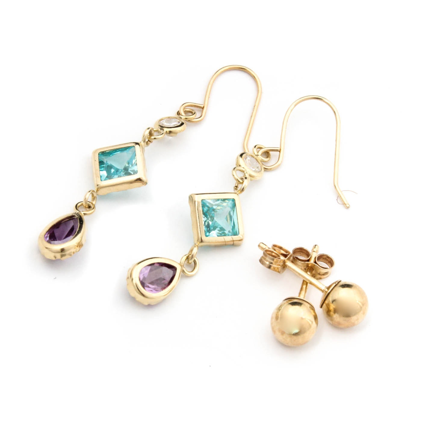14K Yellow Gold Ball Stud Earrings and Blue Topaz and Amethyst Drops