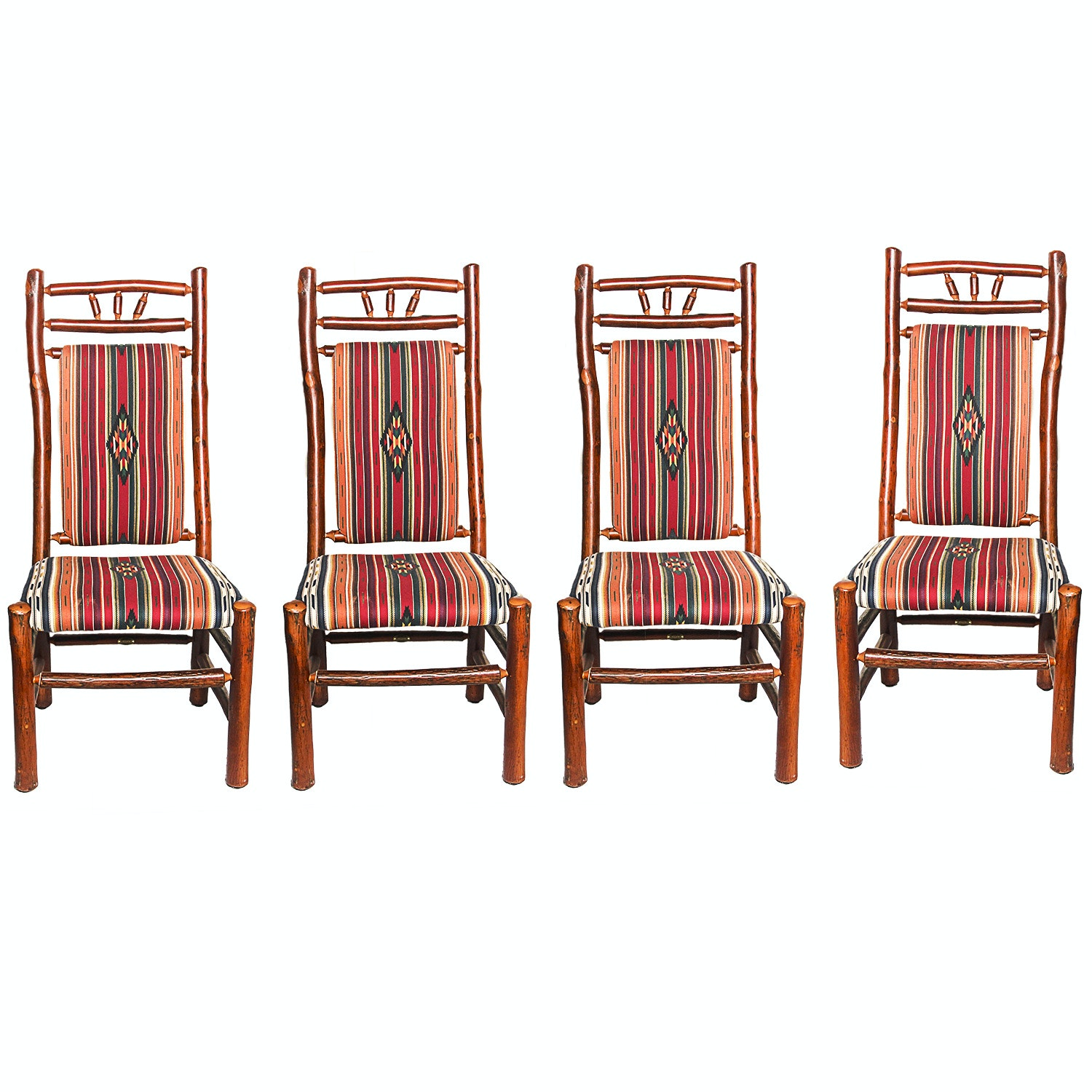 Set Of Southwest Style Old Hickory Rustic Dining Chairs ...