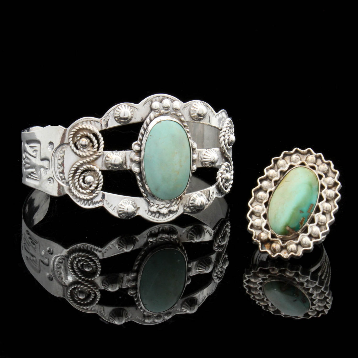 Sterling Silver Turquoise Cuff and Ring