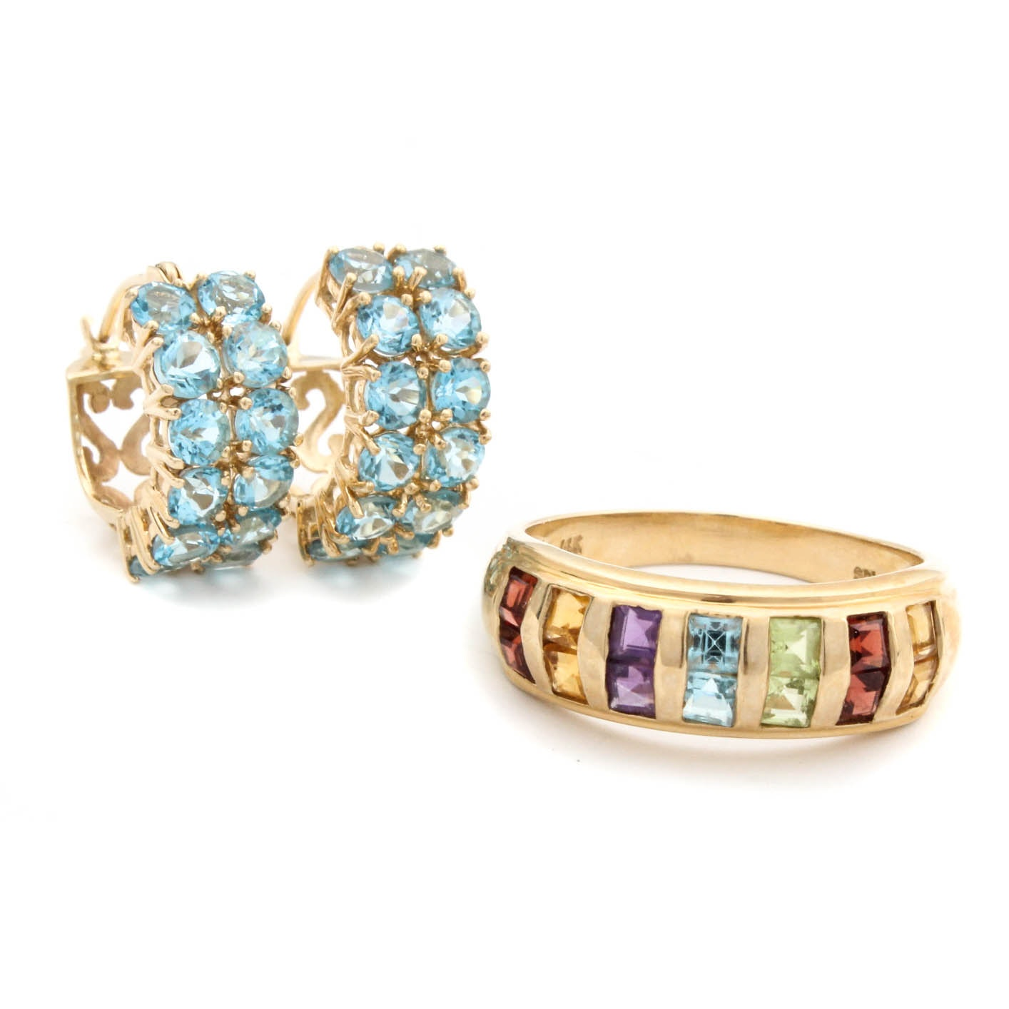 14K Yellow Gold Blue Topaz Earring Hoops and Gemstone Ring