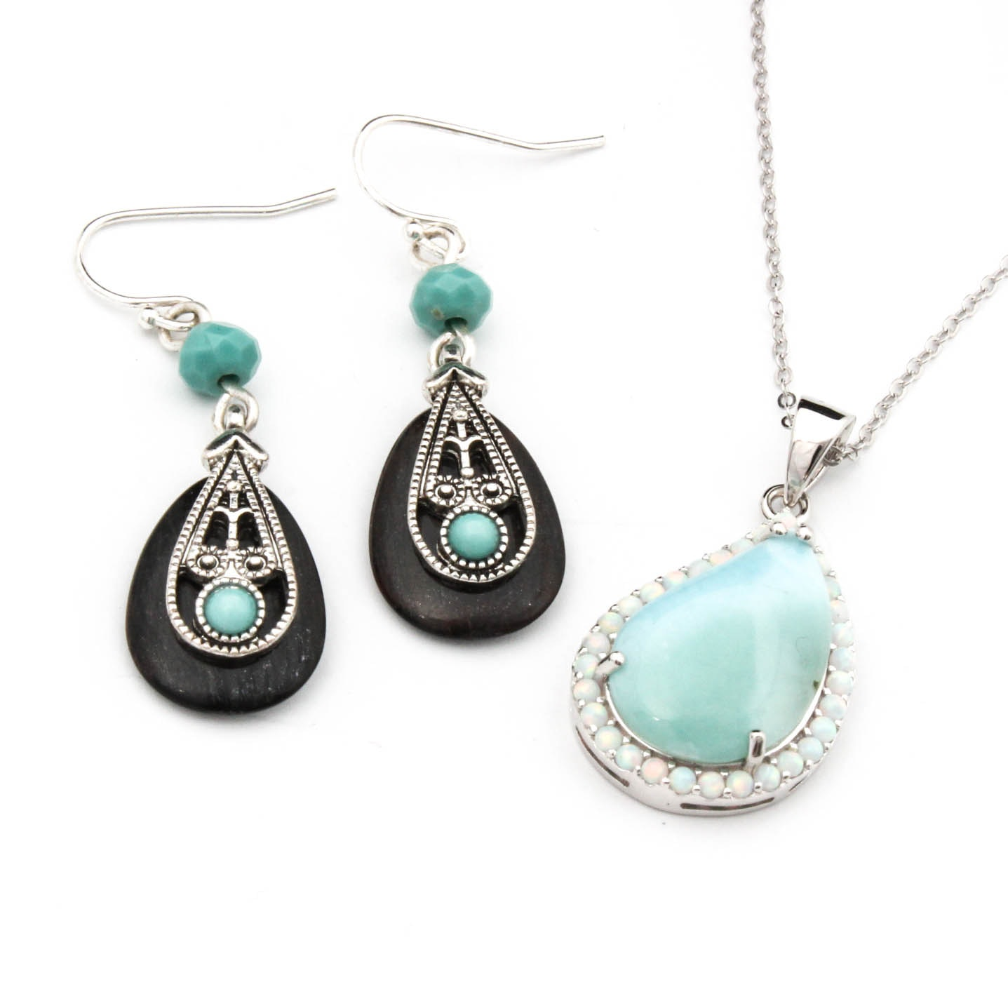 Sterling Silver Larimar and Opal Necklace and Ebony and Turquoise Earrings