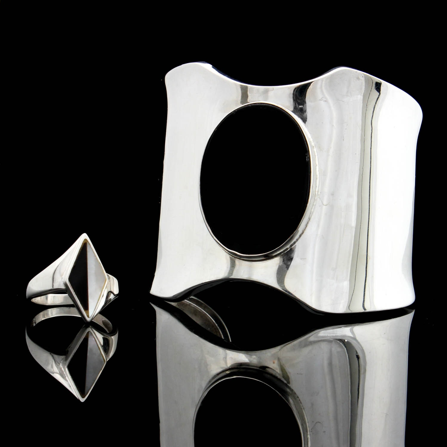 Sterling Silver Onyx and Mother of Pearl Ring and Taxco Cuff