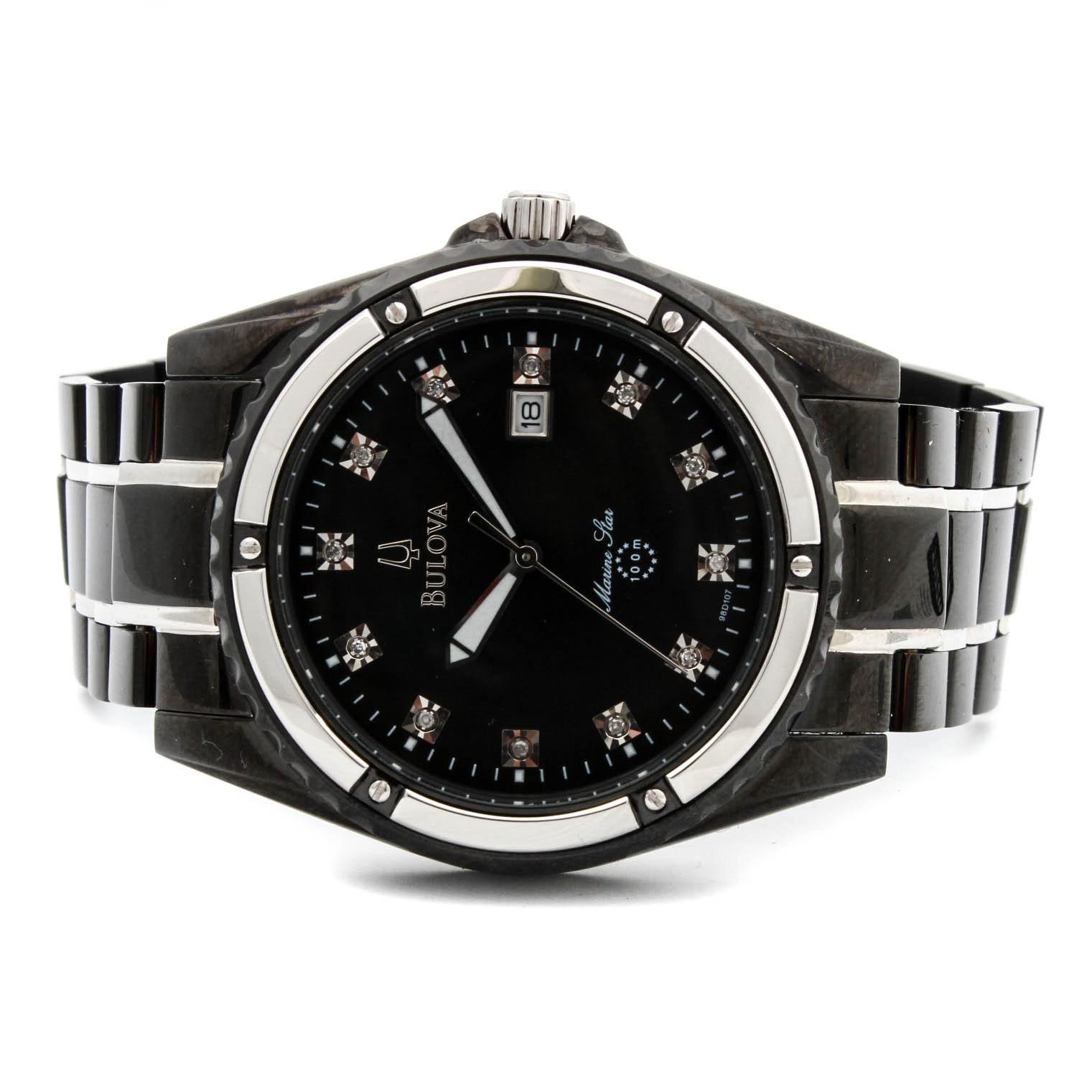 Bulova Marine Star Diamond Accented Stainless Steel Quartz Movement Wristwatch