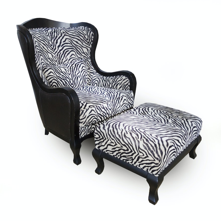 Arhaus Zebra Print Wingback Chair And Ottoman