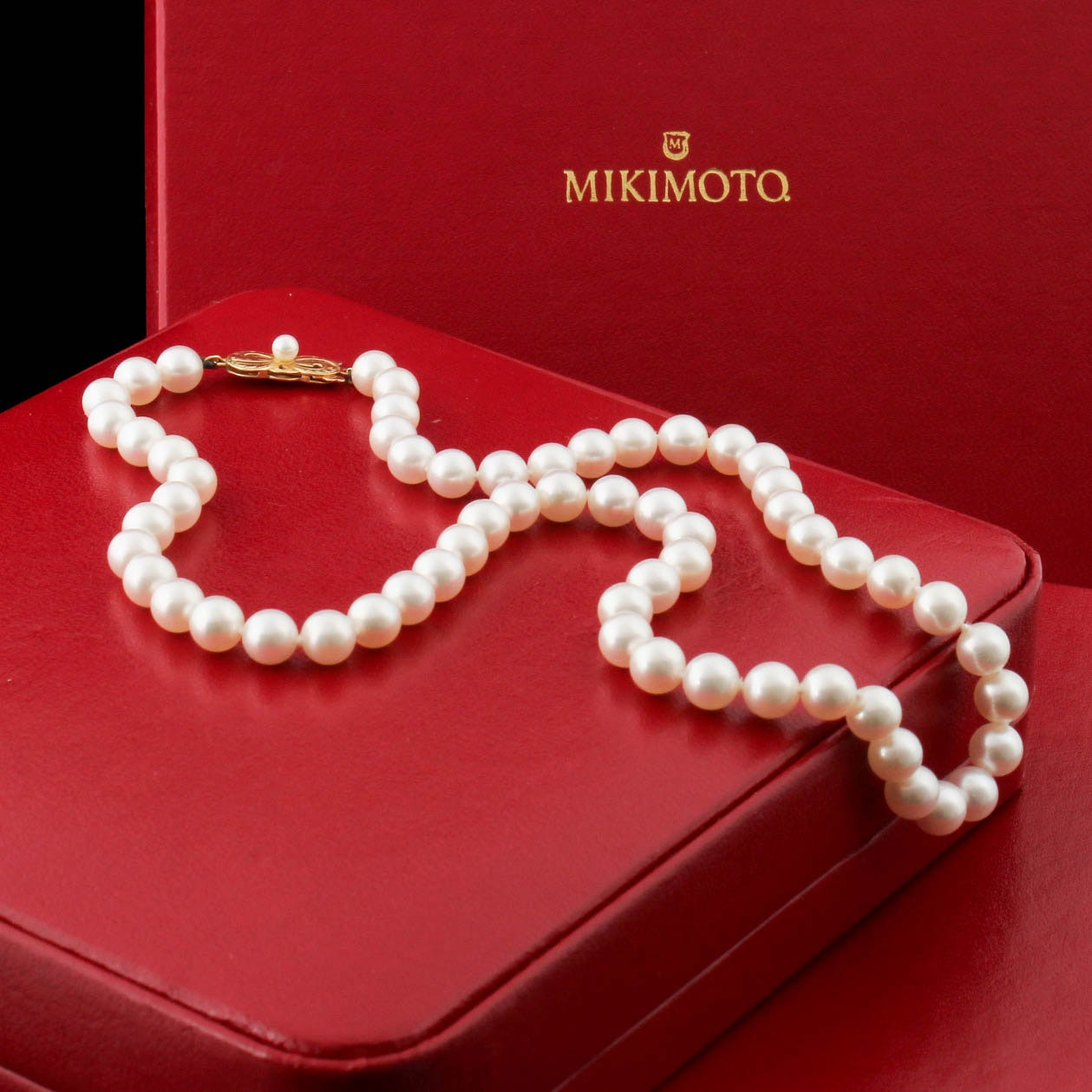 Mikimoto 18K Yellow Gold Clasped Cultured Akoya Pearl Necklace Strand