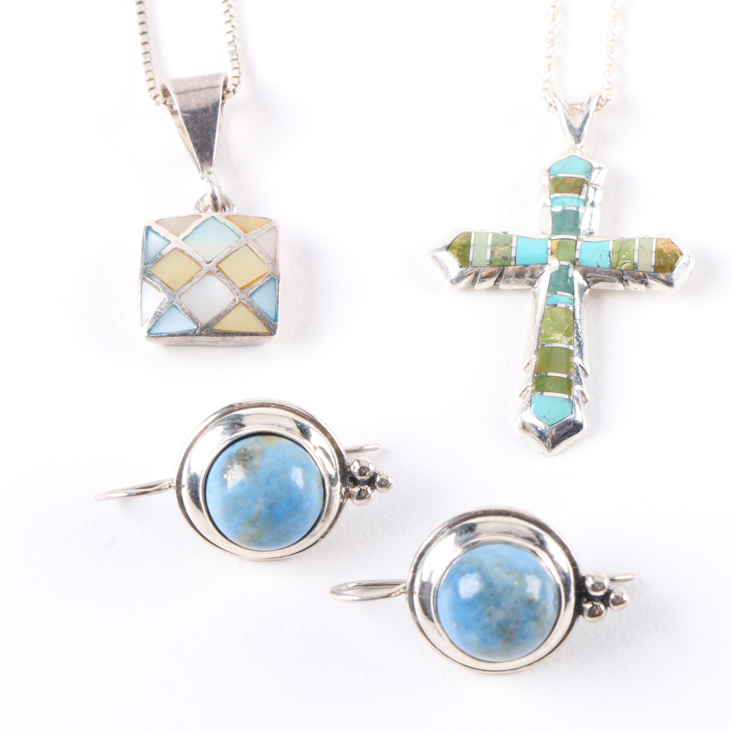 Sterling Silver Pendant Necklaces and Earrings Including Turquoise