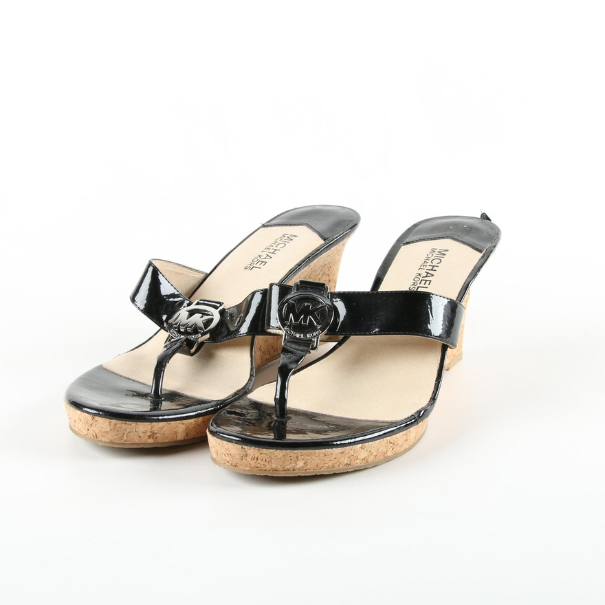 34fddf56ae6 MICHAEL Michael Kors Palm Beach Black Patent Leather and Cork Wedge Sandals    EBTH