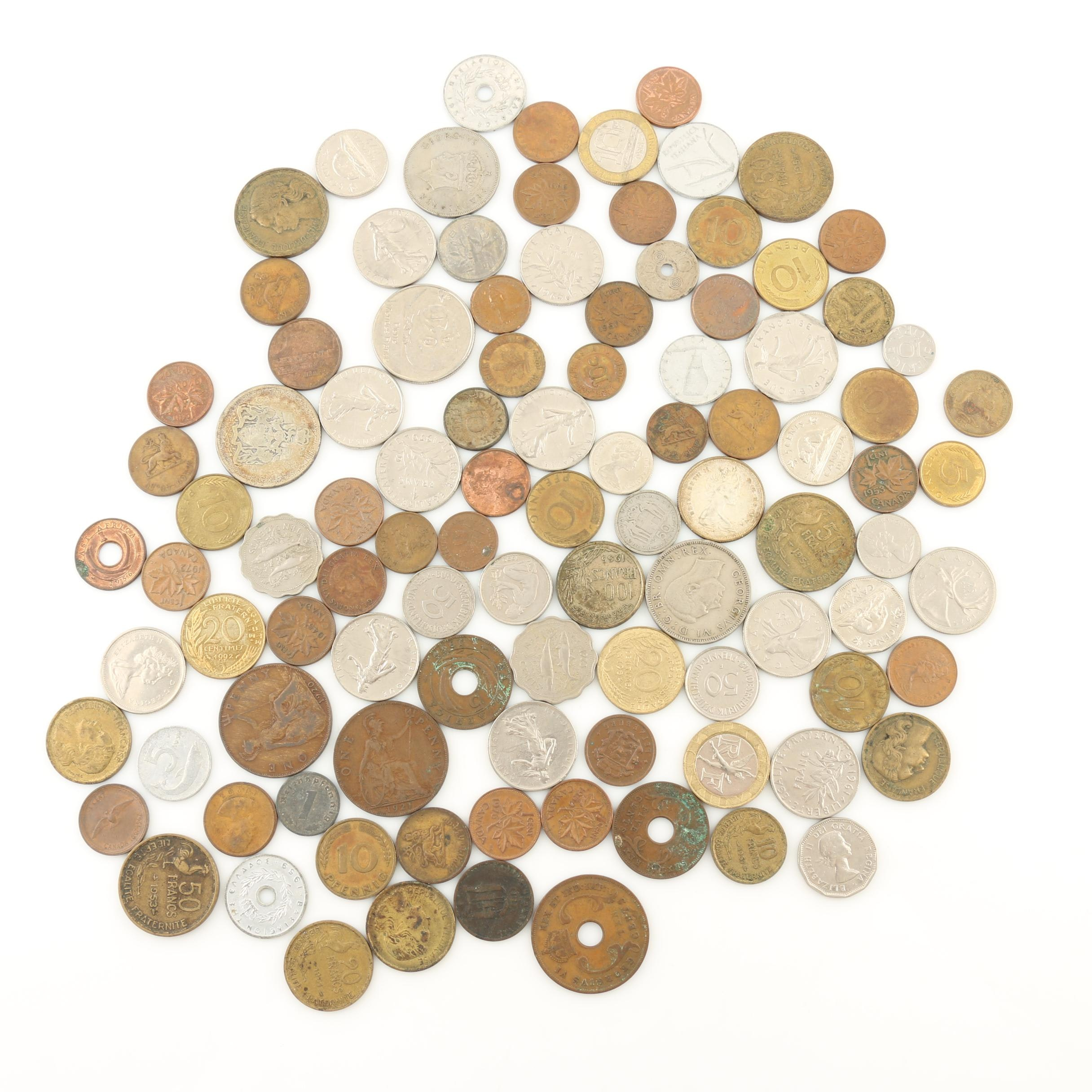 Group of Approximately 100 Foreign Coins