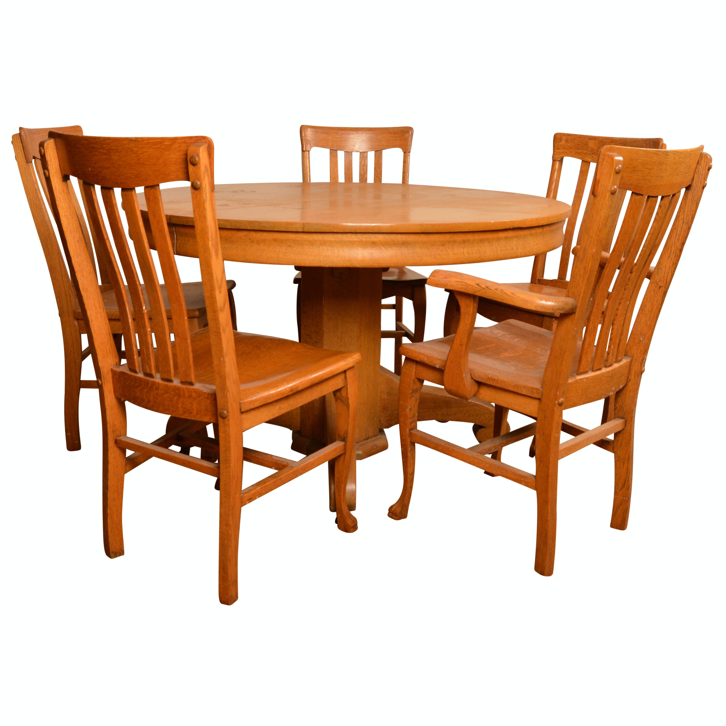 Stained Oak Dining Table with Five Chairs