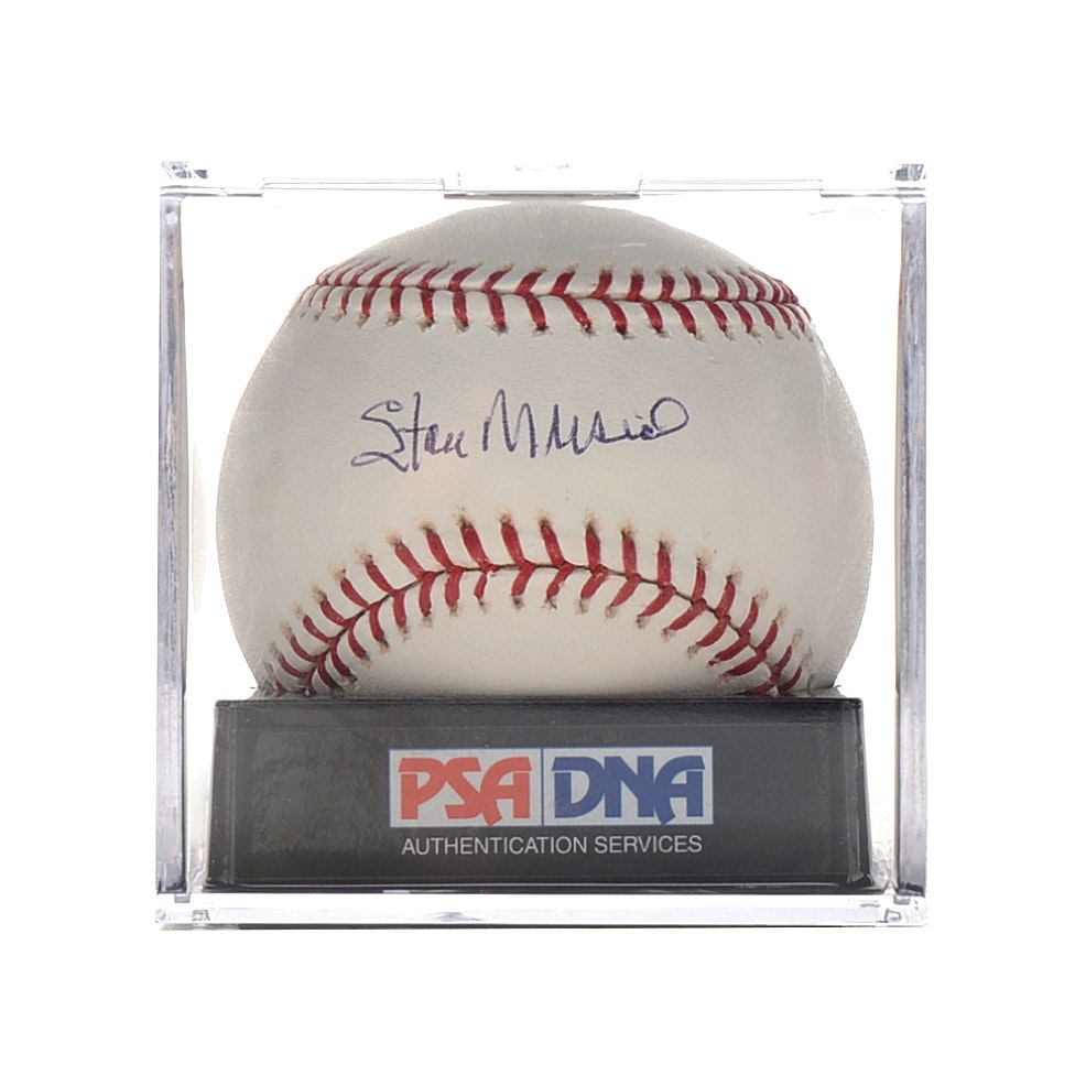 Stan Musial Signed Baseball  Graded 9