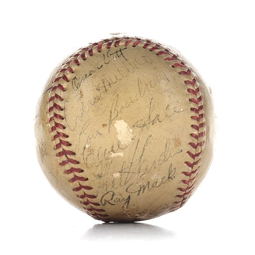 1940 Cleveland Indians Signed Baseball