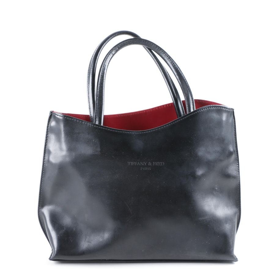 d5c010e57a Vintage Tiffany & Fred Black Leather Tote : EBTH