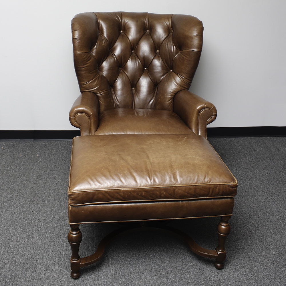 Vintage Tufted Leather Armchair And Ottoman ...