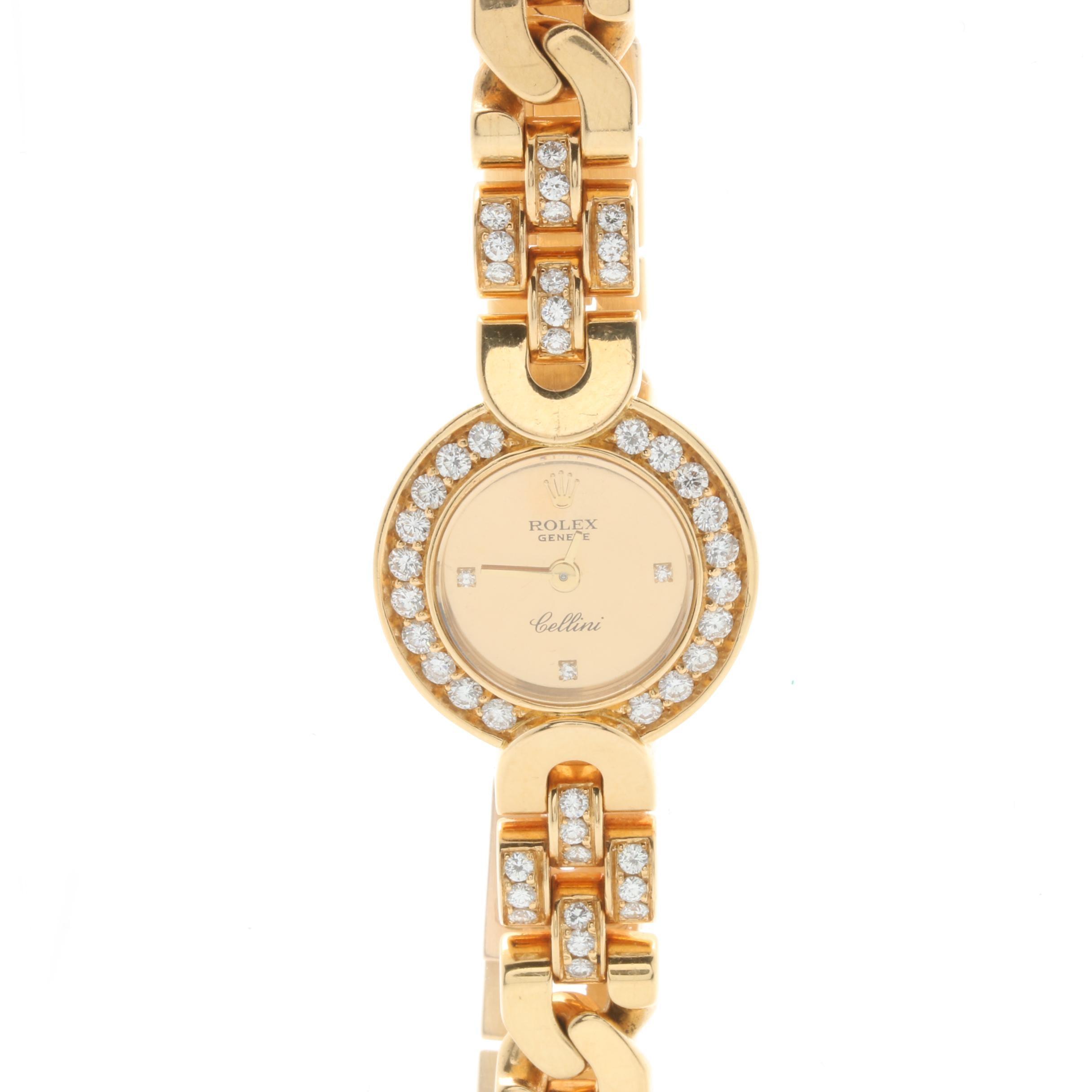 """Rolex """"Geneve Cellini"""" 18K Yellow Gold 2.05 CTW Diamond Wristwatch"""