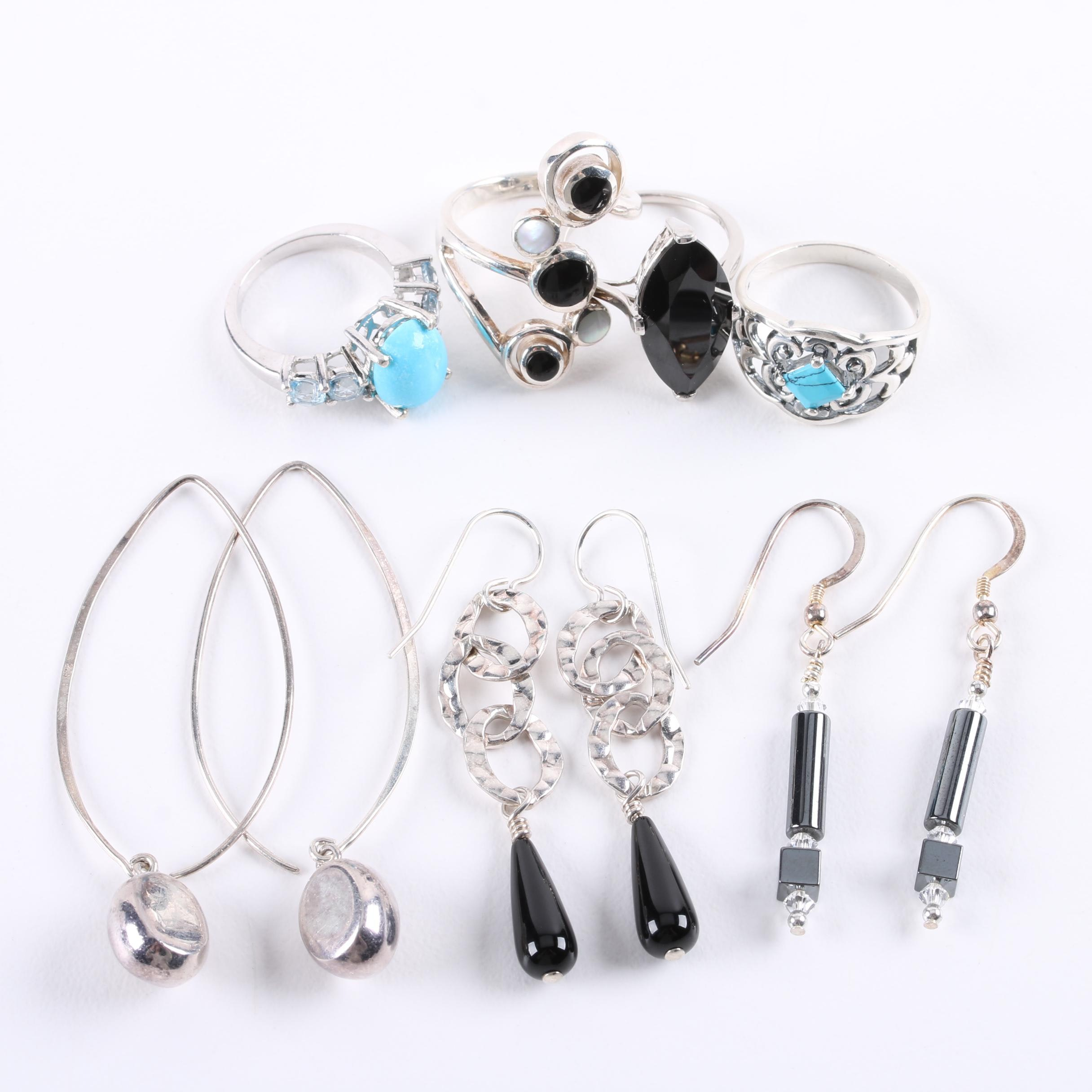 Sterling Silver Jewelry Assortment Including Turquoise and Blue Topaz