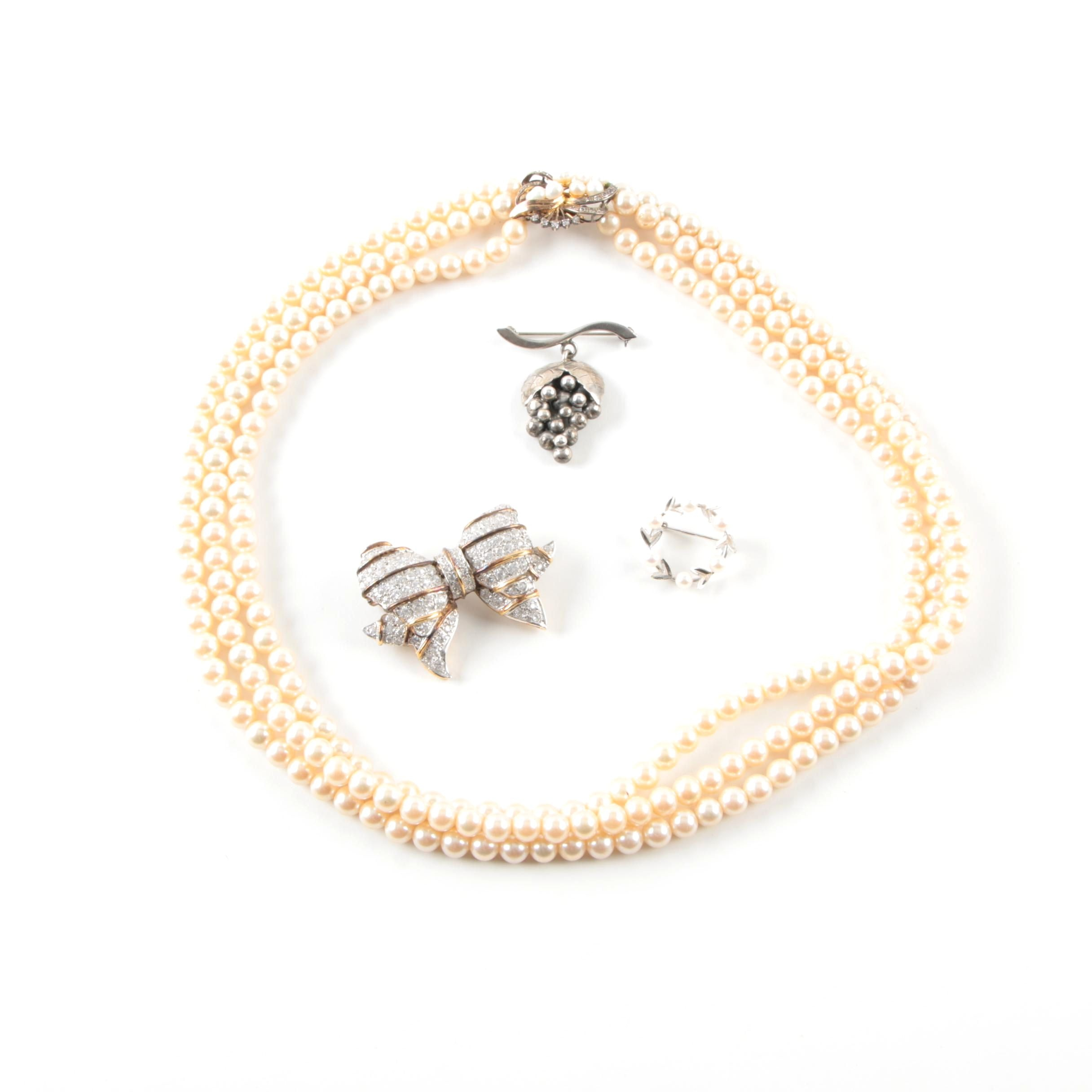 Assorted Cultured Pearl, Imitation Pearl and Glass Crystal Necklace and Brooches
