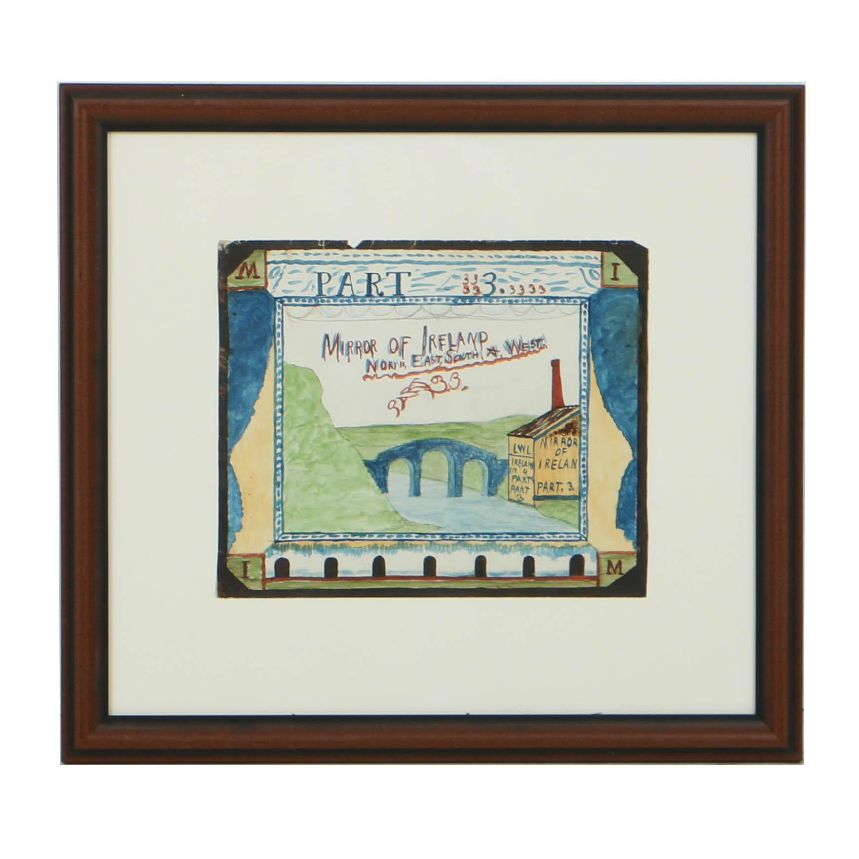 "Early 20th Century Gouache Illustration ""Mirror of Ireland. Part 3"""