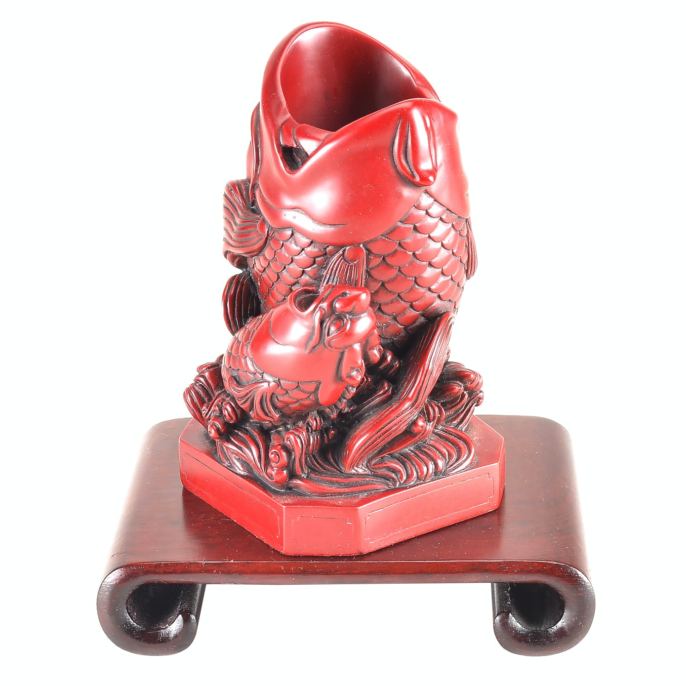 Chinese Cinnabar Style Carved Dragon Fish