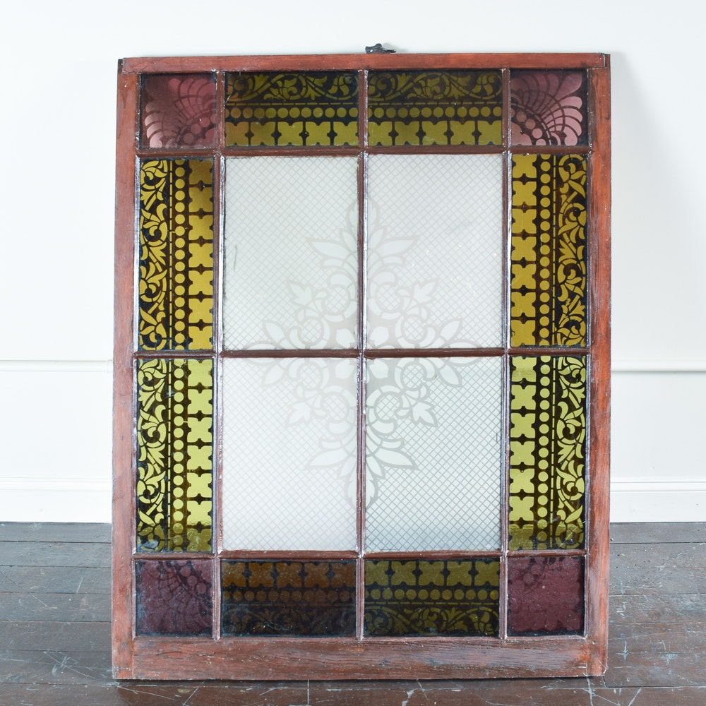 Vintage Etched and Stained Glass Window