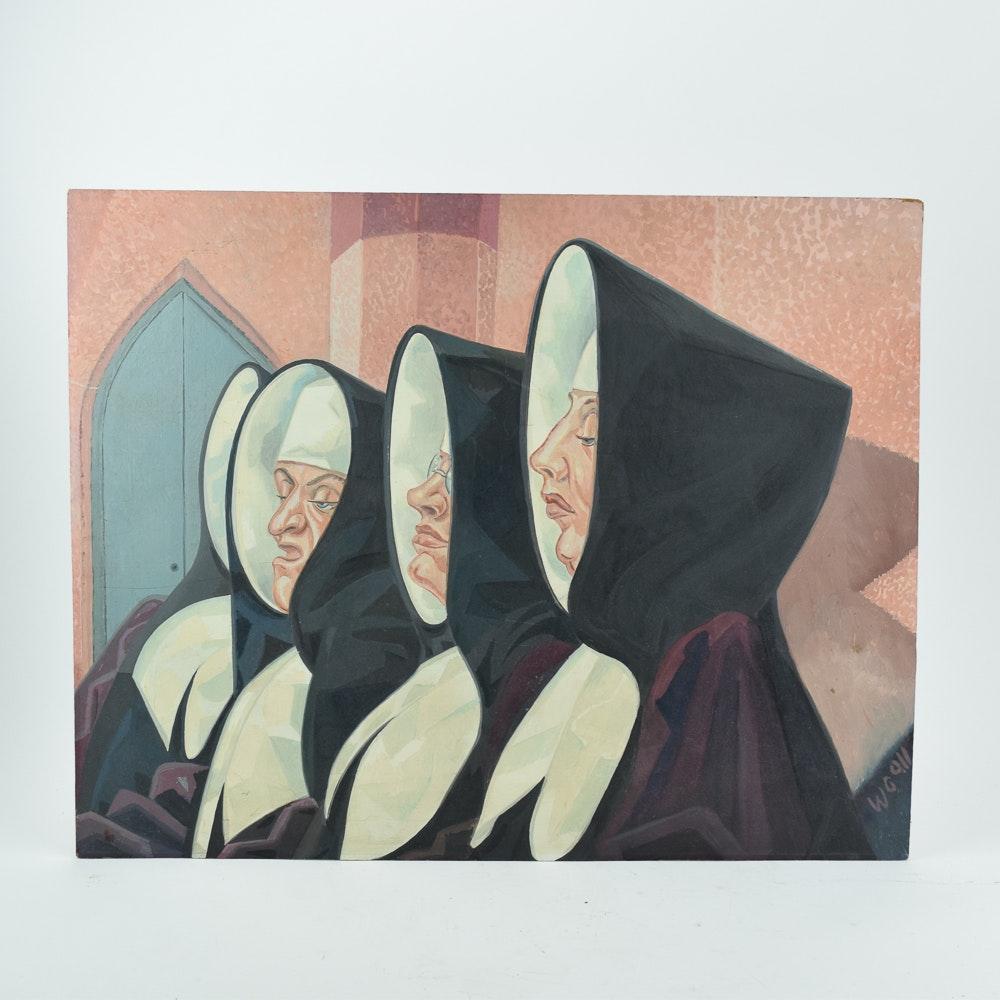 Acrylic Painting on Panel of Nuns