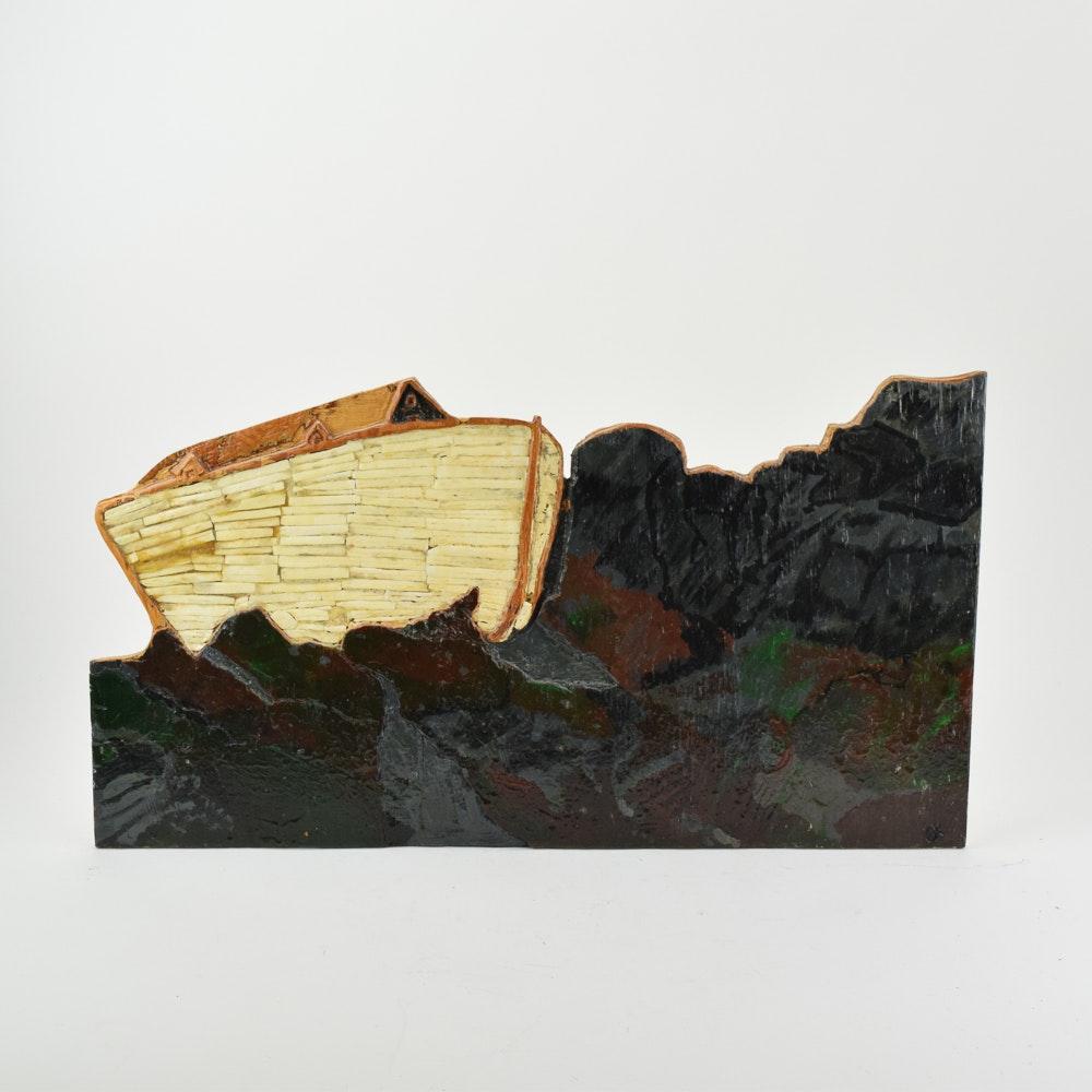Mixed Media Wooden Cutout Wall Hanging of Noah's Ark