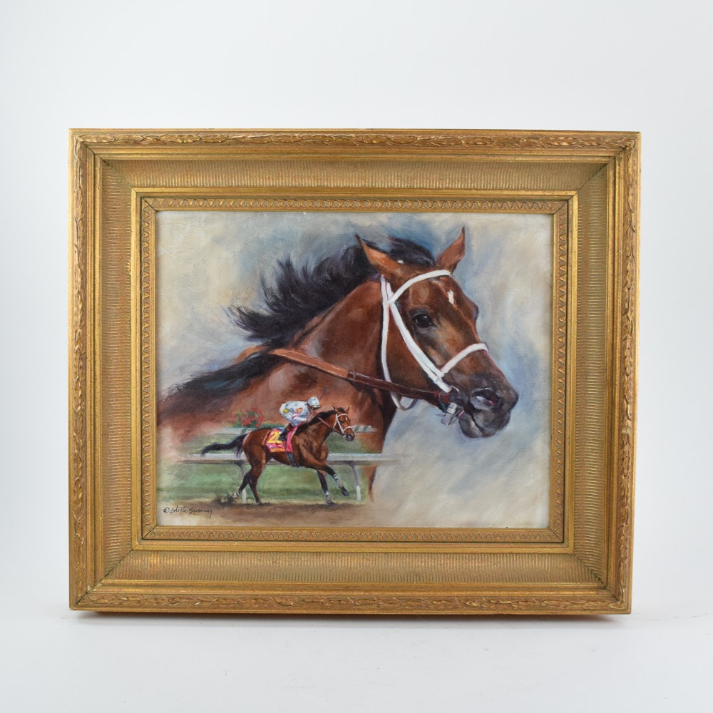 Celeste Susany Acrylic Equestrian Painting