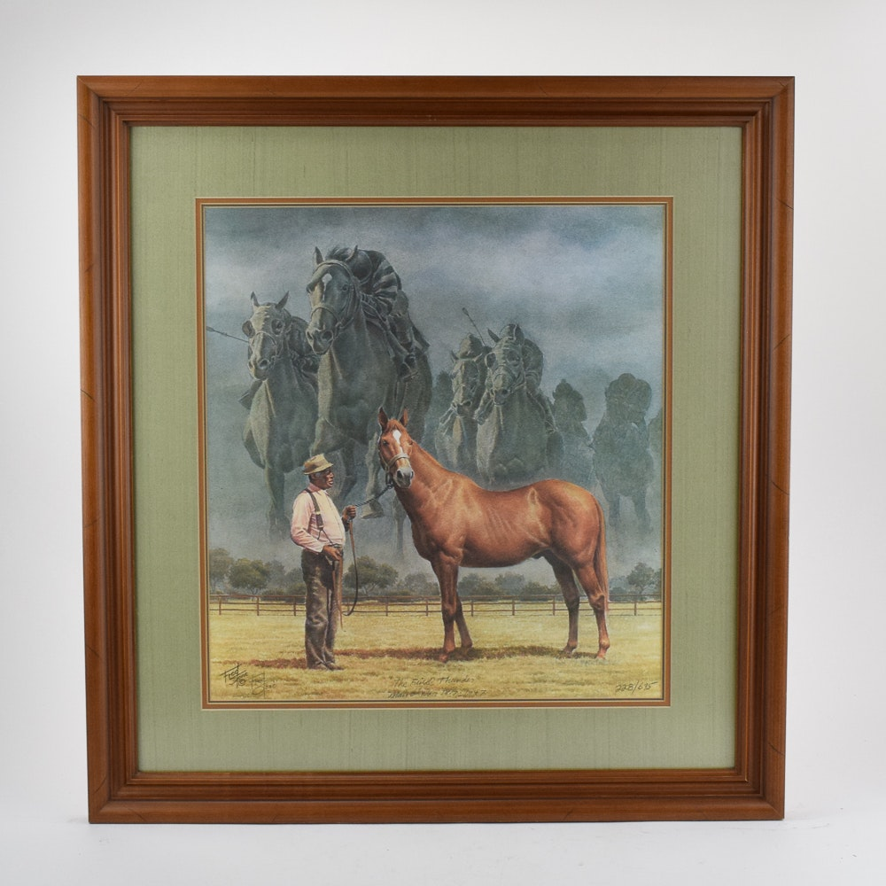 """Fred Stone Limited Edition Offset Lithograph """"The Final Thunder, Man O' War"""""""