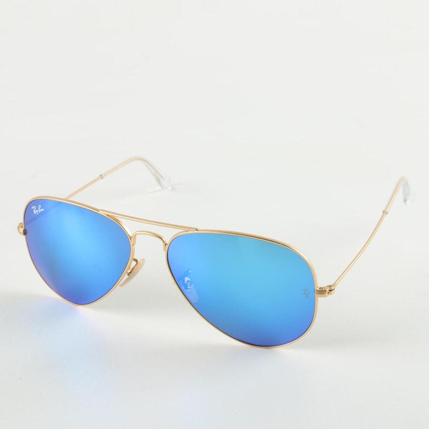 5cba1f4197 Ray-Ban Aviator Sunglasses with Blue Mirrored Lenses   EBTH