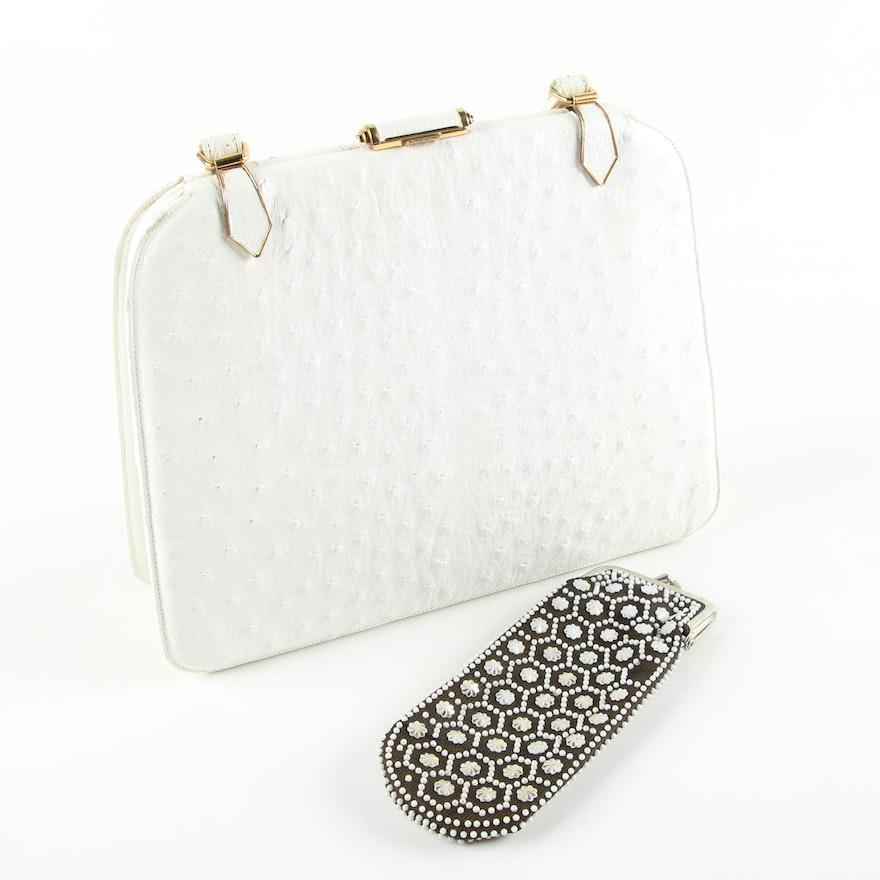 936712a90cfd Vintage Lucille de Paris Ostrich Skin Handbag with Embellished Eyeglass  Case ...