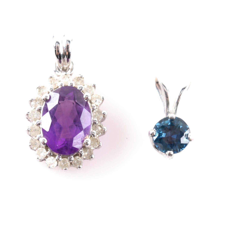 14K White Gold Sapphire Pendant and Diamond Amethyst Pendant