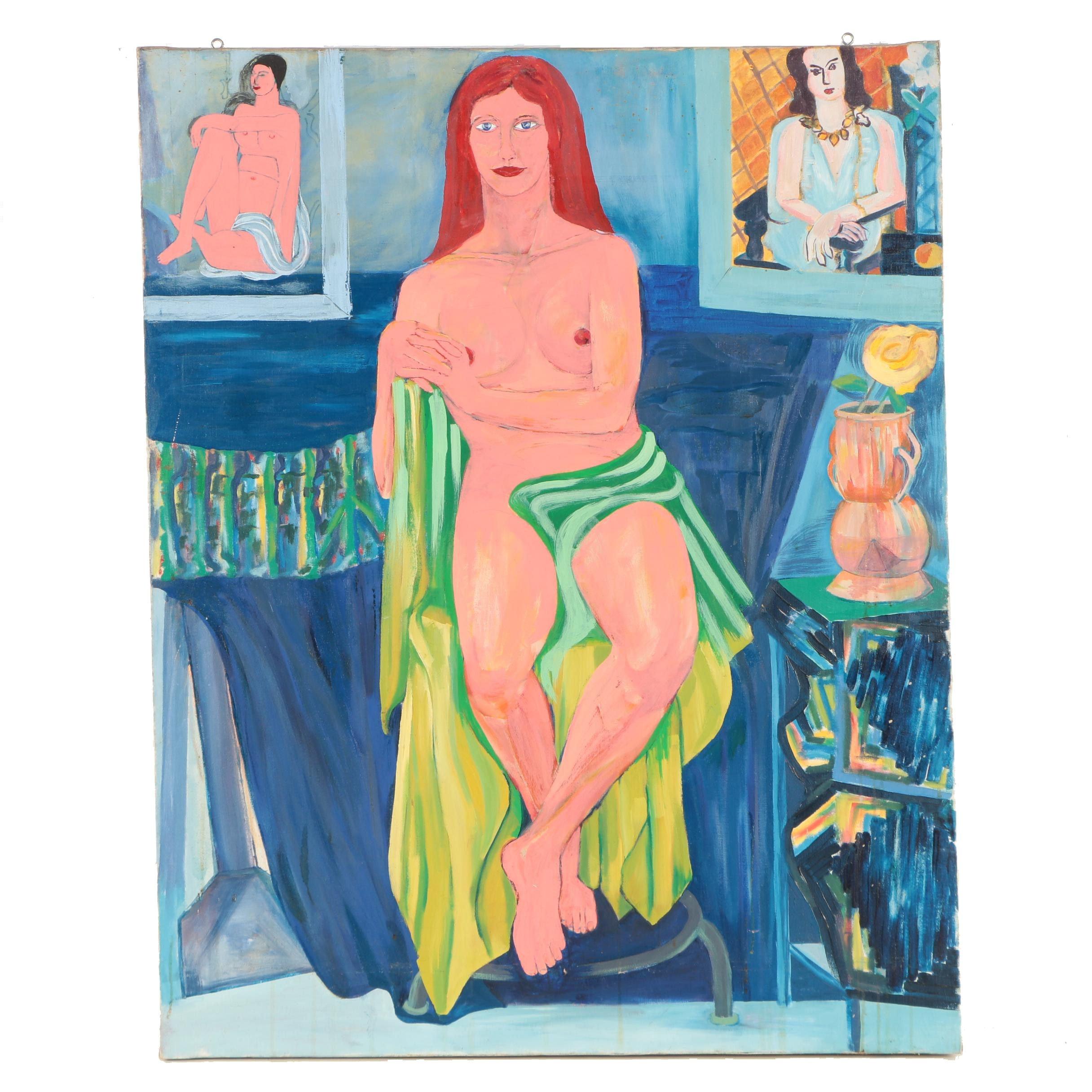 Joe Marfoglia Late 20th Century Oil Painting of Female Nude