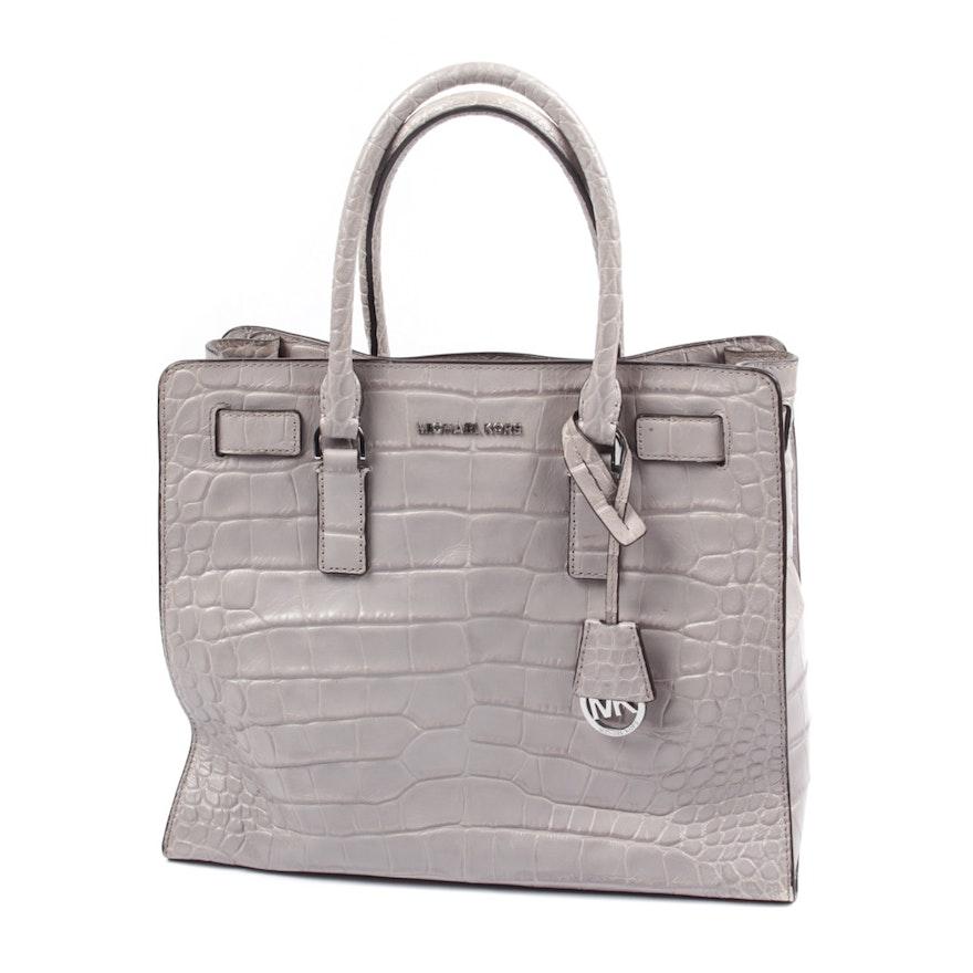 e8a5e1005ee9fb MICHAEL Michael Kors Hamilton Alligator Embossed Leather Handbag : EBTH