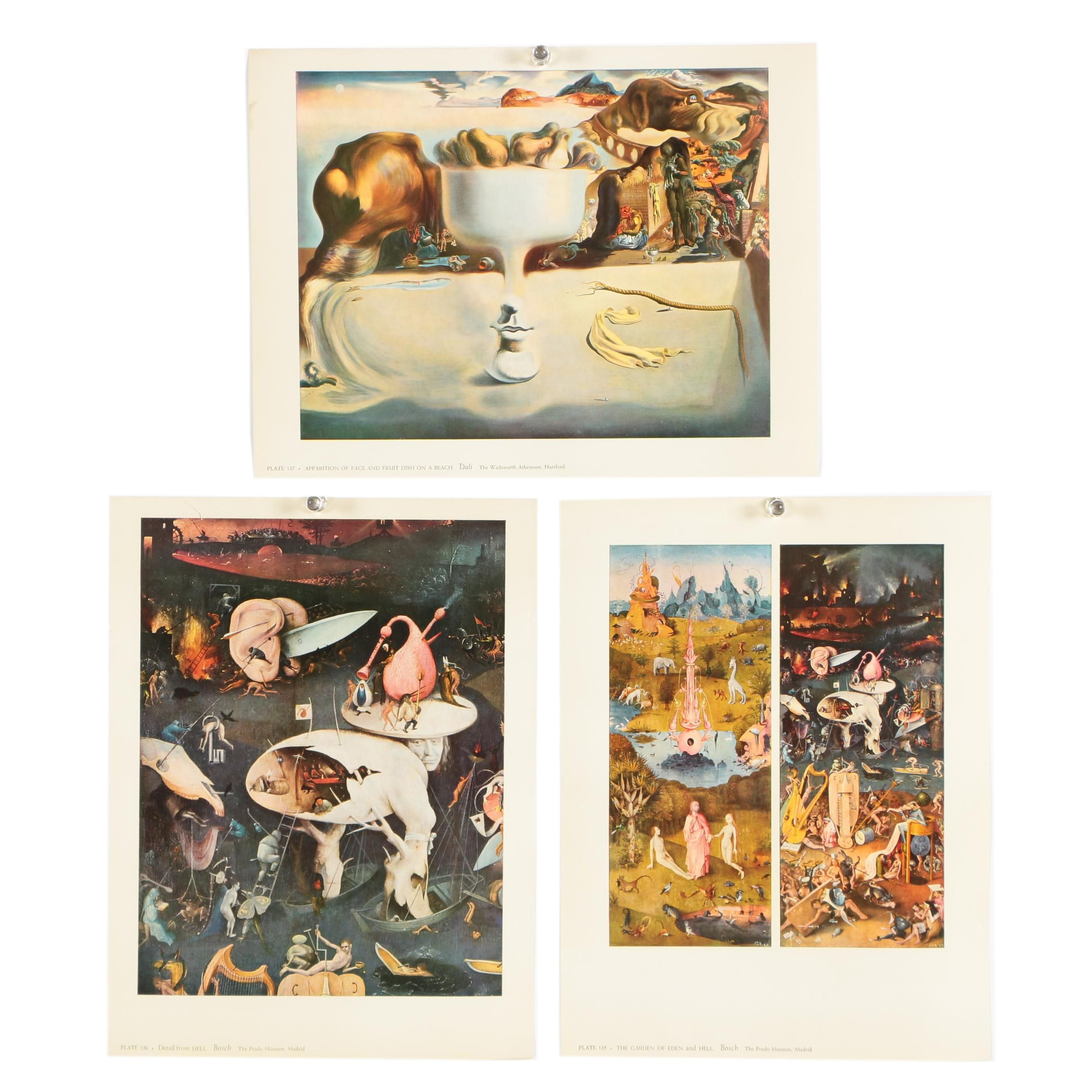 """Offset Lithographs After Bosch and Dali Featuring """"Hell"""""""