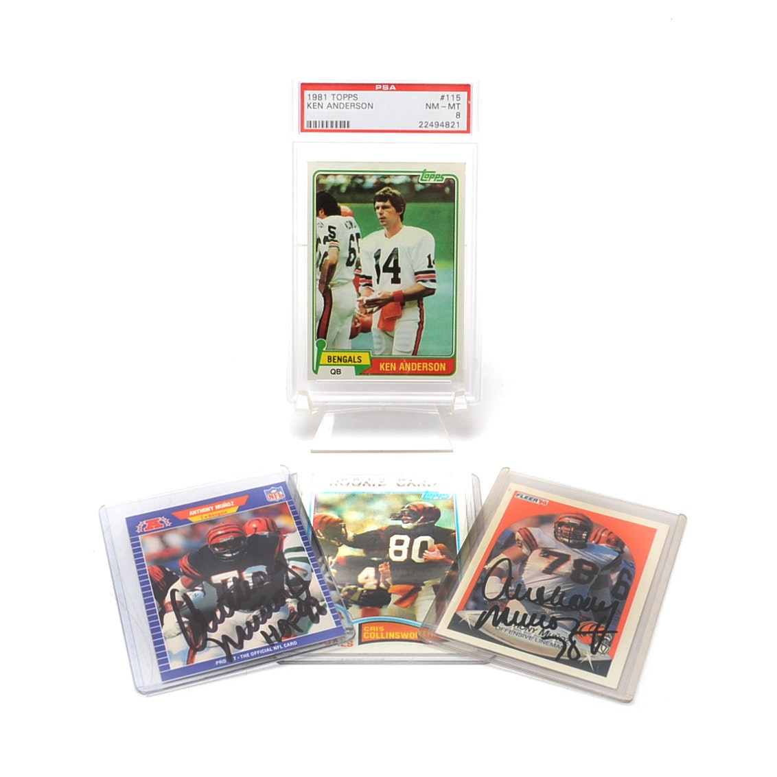 Cincinnati Bengals Football Cards, Two Signed By Munoz