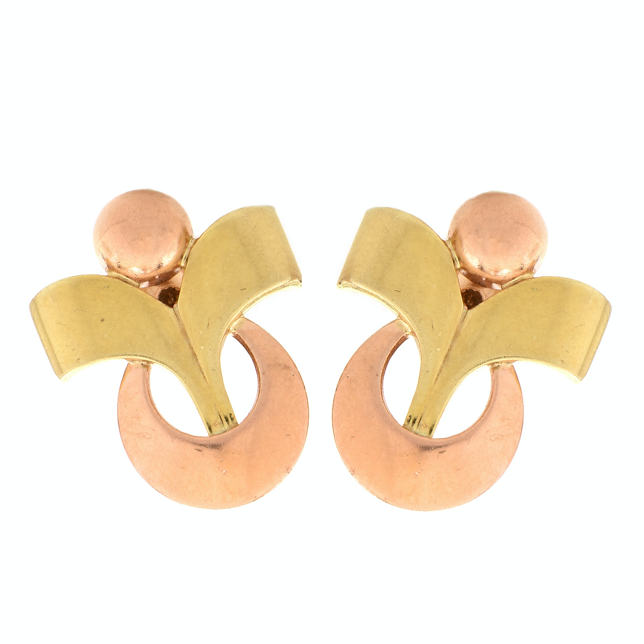 Retro Tiffany & Co. 14K Rose and Green Gold Post Earrings