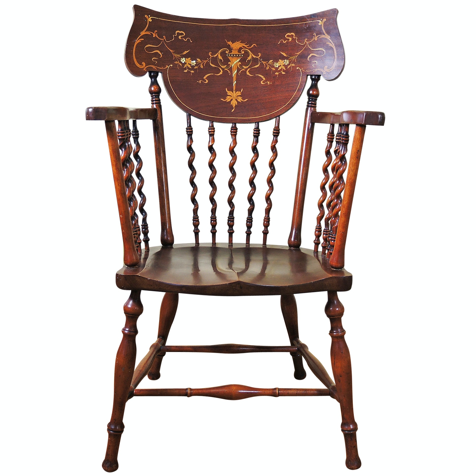 Colonial Revival Mahogany Barley Twist Accent Chair By Robert Mitchell ...