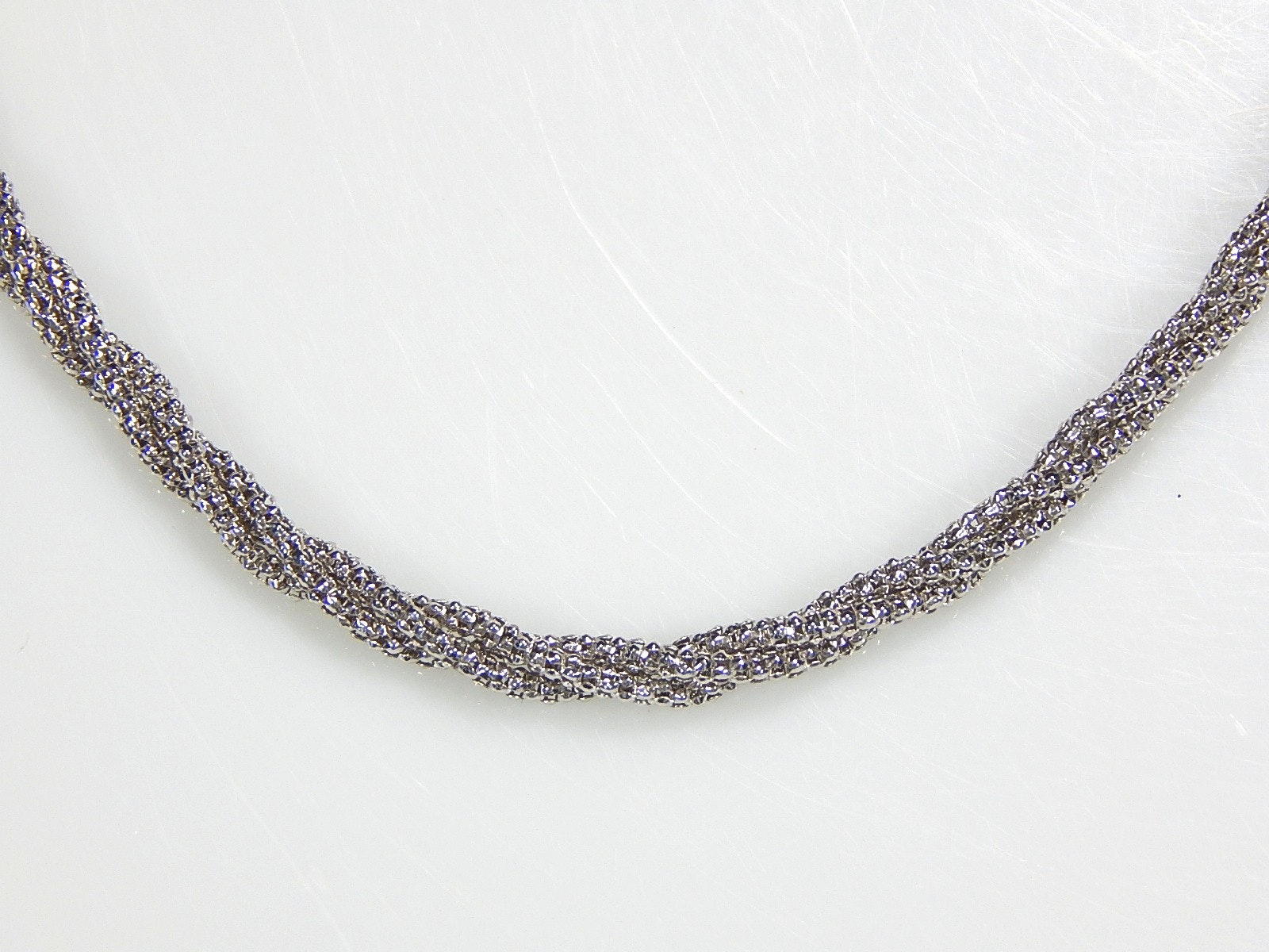 14K White Gold Double Strand Twist Necklace