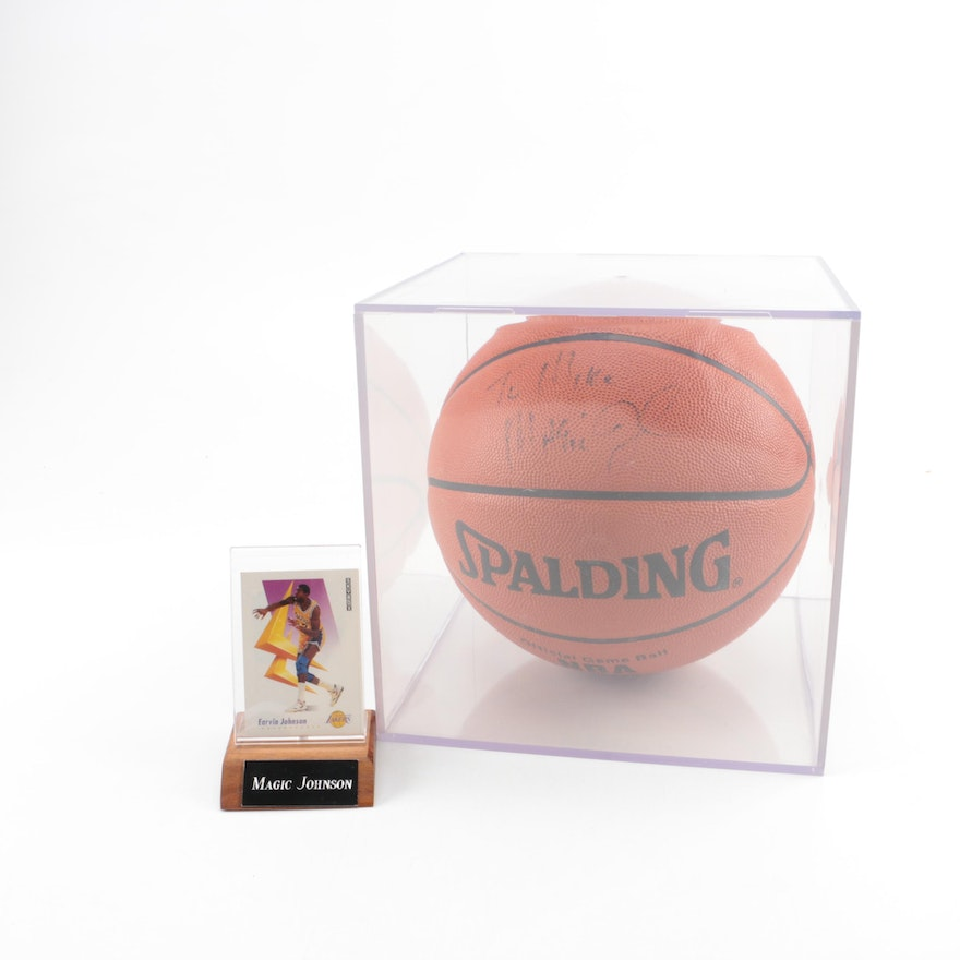 the best attitude e4fe6 86b05 Magic Johnson Autographed Basketball with SkyBox Trading Card