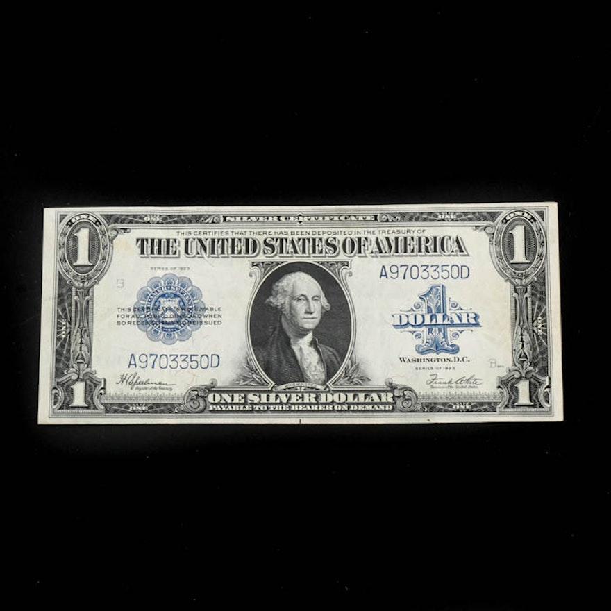 1923 Large \'Horse Blanket\' $1 Silver Certificate : EBTH
