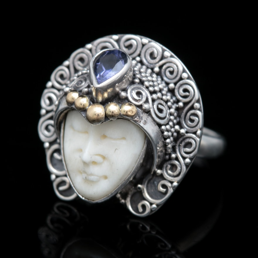 Robert Manse Sterling Silver 18k Yellow Gold And Iolite Carved Bone Face Ring Ebth