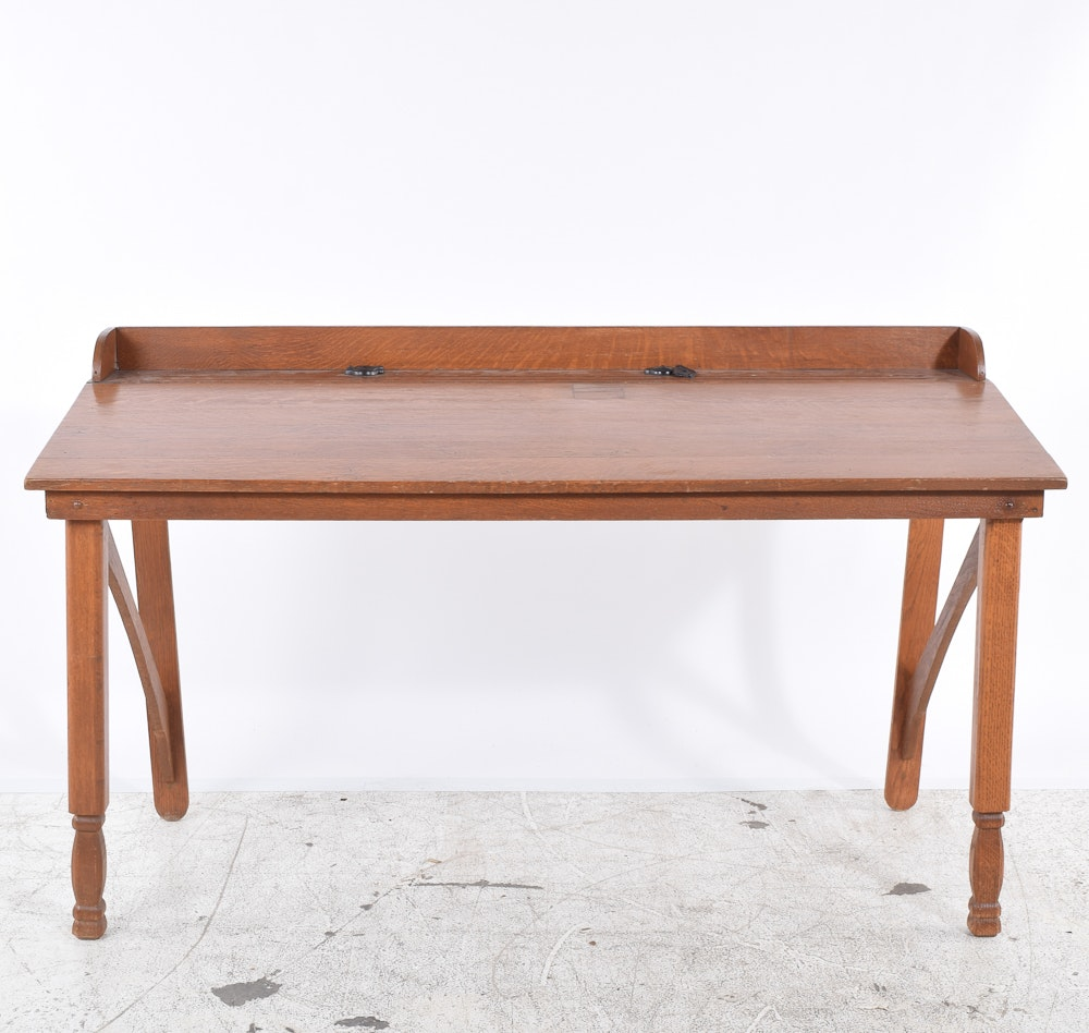 Vintage Oak Accountant's Table