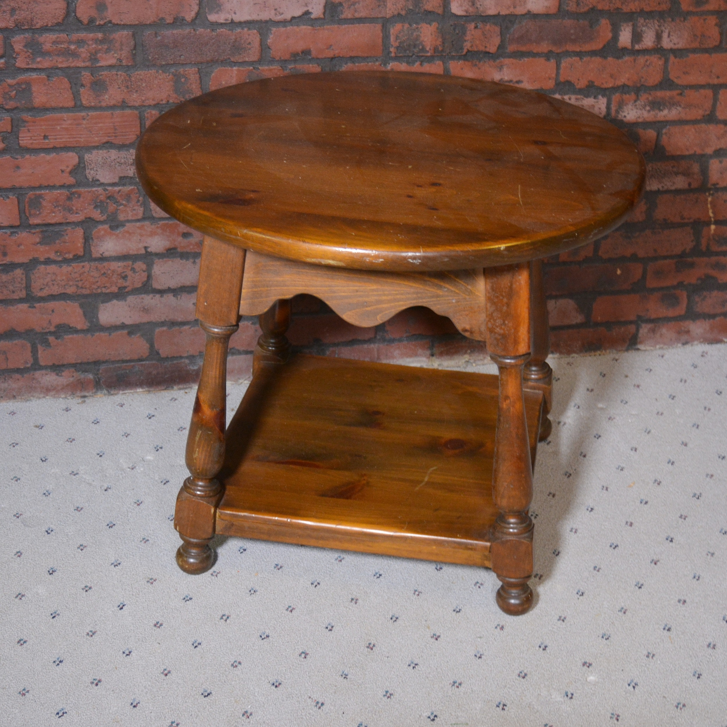 Colonial Style Dark Stained Round Side Table