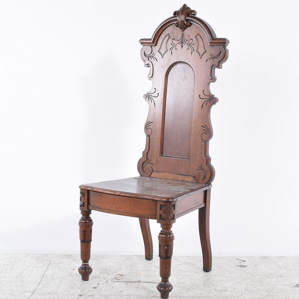 Cincinnati Made Victorian Walnut Hall Chair