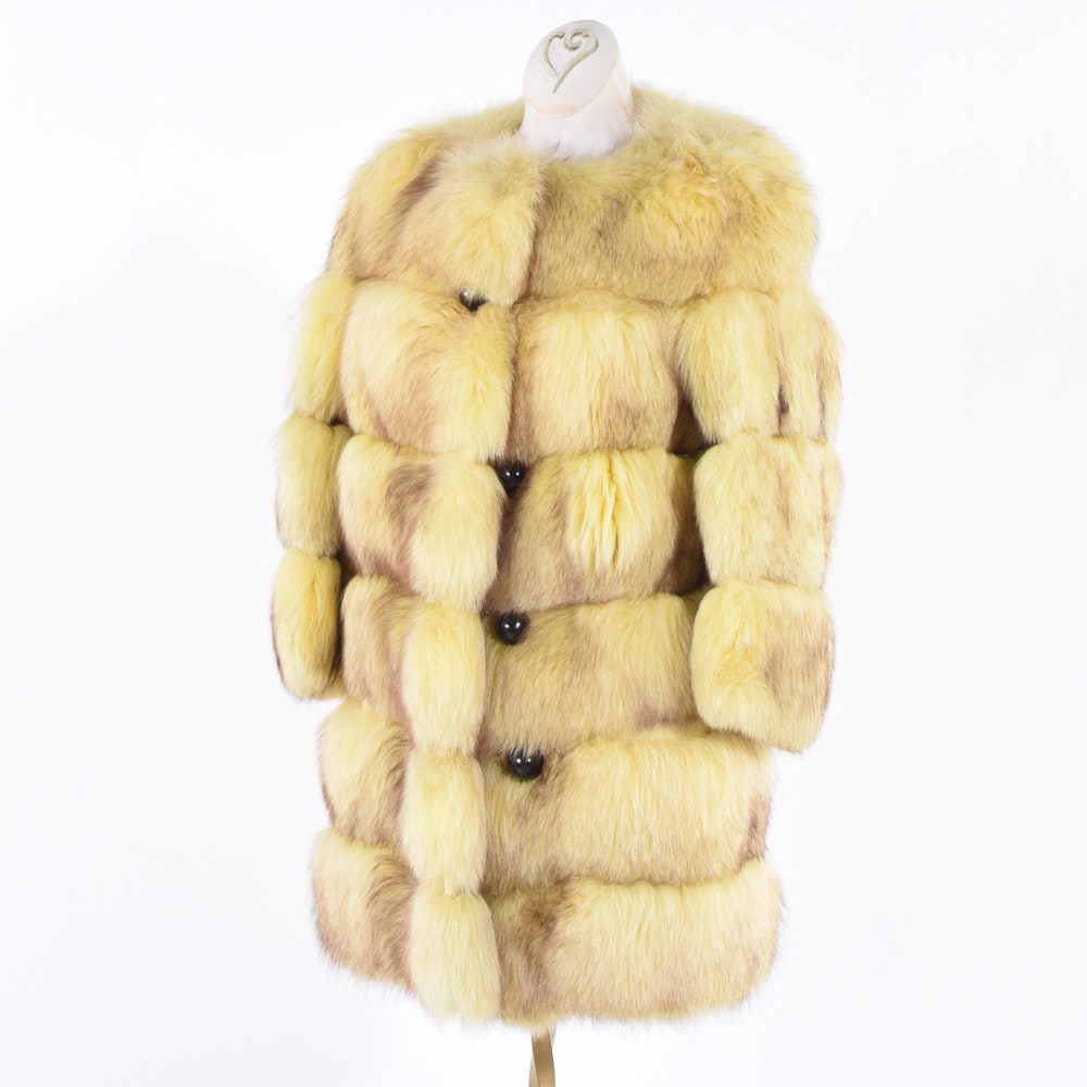 Dyed Fox Fur Coat