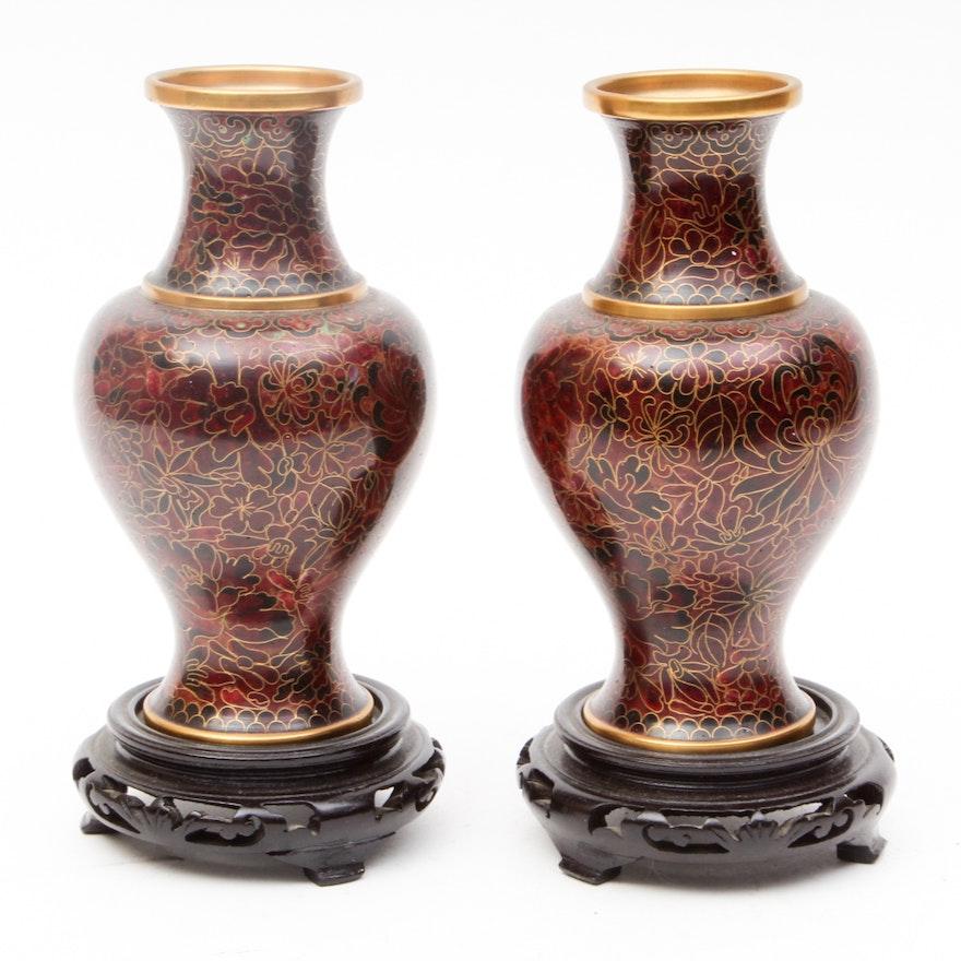 Jingfa Chinese Cloisonne Vases Ebth