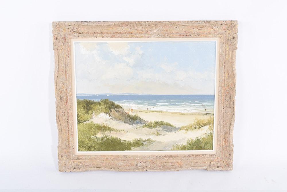 Erich Paulsen Late 20th Century Oil Painting of Beach Landscape