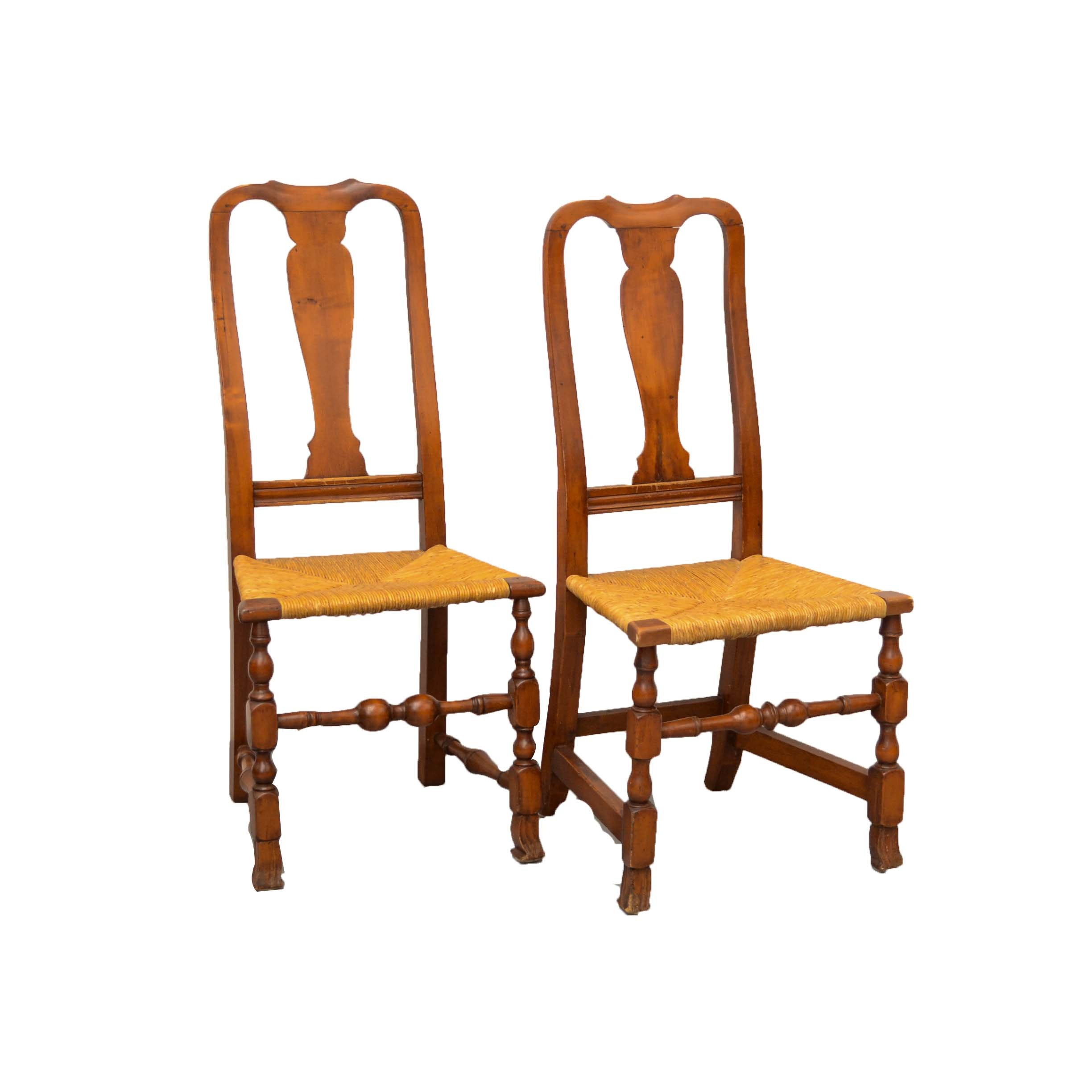 Charmant Two Antique Queen Anne Style Rush Bottom Chairs ...