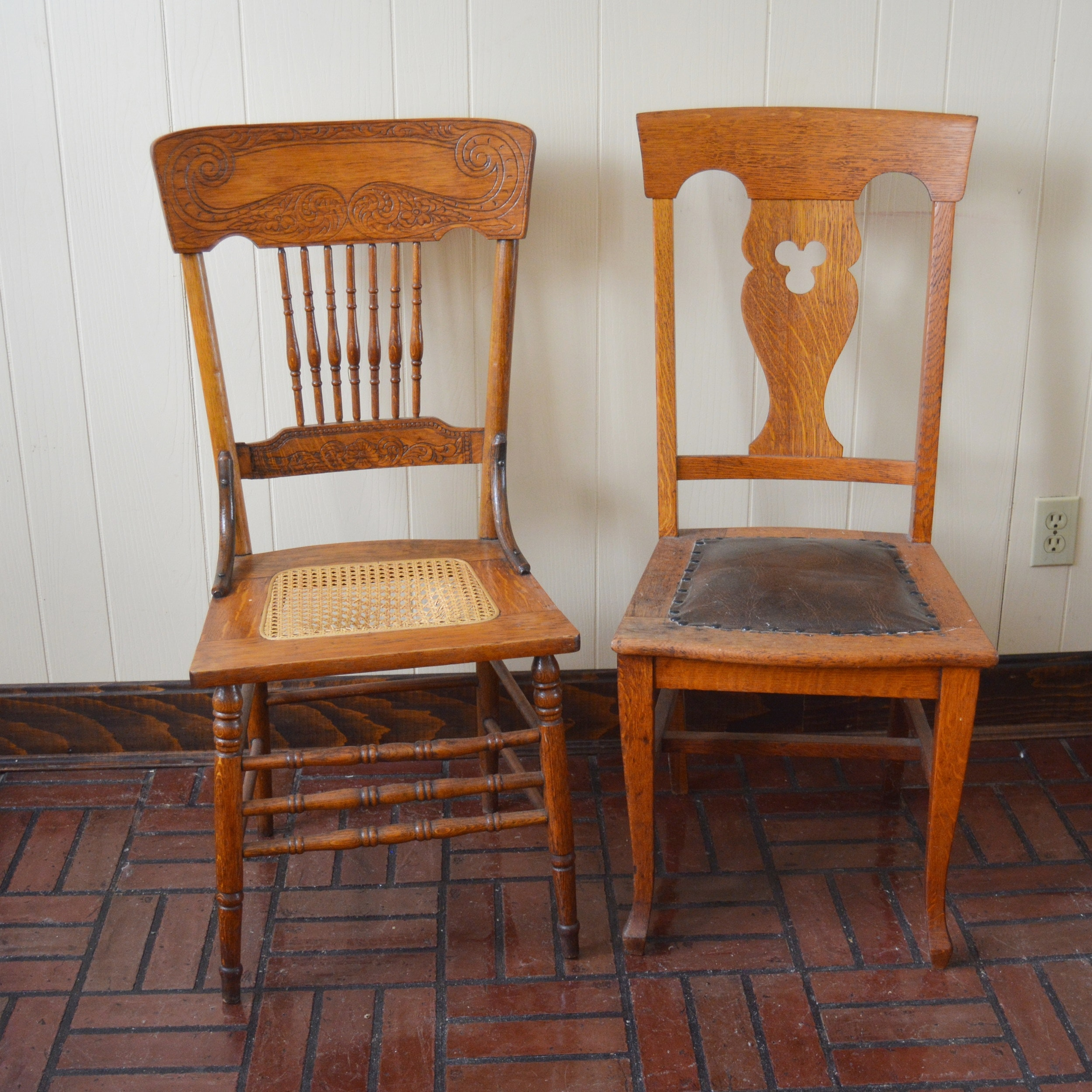 Two Vintage Wood Chairs
